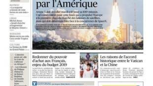 O jornal francês Le Figaro traz em manchete a centésima missão do foguete Ariane 5, na Guiana Francesa.
