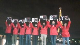 Акция RSF в Париже в поддержку журналистов, жертв насилия. 1 ноября 2018