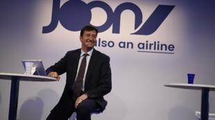 Franck Terner, le directeur Général d'Air France à Paris lors du lancement de Joon, la nouvelle filiale aérienne d'Air France qui démarre ses activités le 1er décembre 2017.