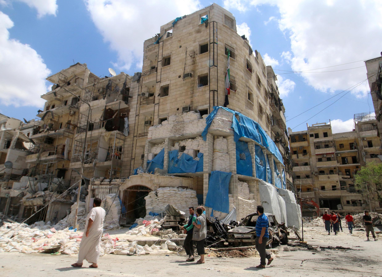 Bệnh viện Al-Qods tại Aleppo bị quân chính phủ phá hủy ngày 28/04/ 2016.