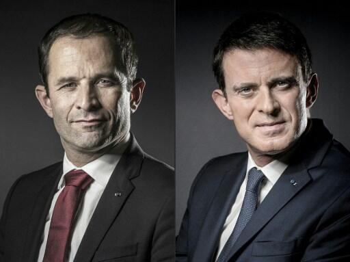Benoît Hamon, left and former prime minister Manuel Valls, right.
