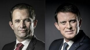 Benoît Hamon, left and former prime minister Manuel Valls, right.