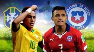 Brasil e Chile a abrir os oitavos-de-final do Mundial de Futebol 2014 no Brasil.