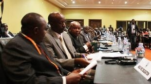 Des membres de la délégation du M23 aux pourparlers de paix à Kampala, le 11 décembre 2012.