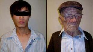 一名怀疑是20多岁的大陆青年(左)乔装为一名白人老人(右),成功矇骗香港机场人员登上前往温哥华客机,入境时被识破图谋。