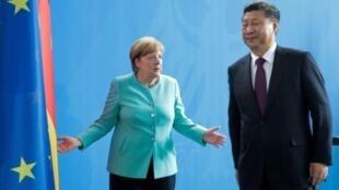 德国总理默克尔与中国国家主席习近平资料图片