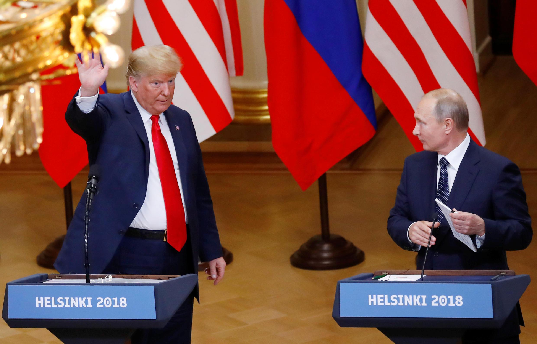 Tổng thống Mỹ Donald Trump và tổng thống Nga Vladimir Putin tại cuộc họp báo chung ngày 16/07/2018 ở Helsinki (Phần Lan).