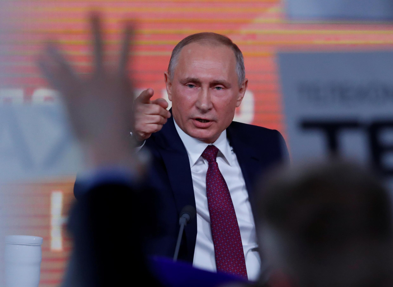 Vladimir Poutine a effectué sa conférence de presse annuelle devant près de 1600 journalistes, à Moscou, le 14 décembre 2017.