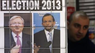 Une d'un quotidien sur la campagne électorale pour les élections légisaltives du 7 septembre 2013 : le Premier ministre travailliste Kevin Rudd (G) et le chef de l'opposition conservatrice Tony Abbott (D).