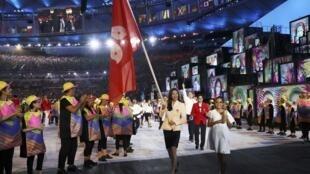 2016年8月 5日,里约奥运会开幕式上入场的香港代表团。
