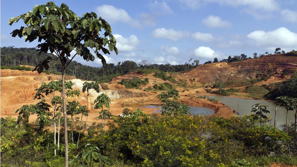 Le site minier aurifère de Yaou, à Maripasoula en Guyane française, en 2011.