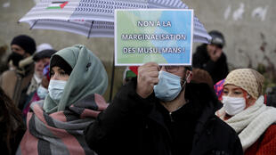 """Protesters demonstrate against a French bill dubbed as """"anti-separatism"""" in Paris earlier in the week."""