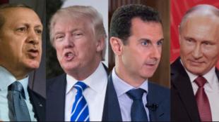 土耳其、美国、叙利亚、俄罗斯四国领导人资料图片