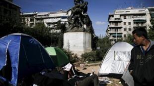 Un camp de réfugiés à Athènes.