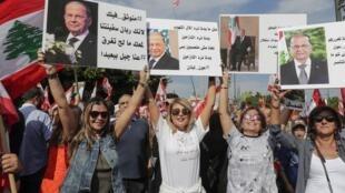 """نخستین تظاهرات طرفداران میشل عون رئیس جمهوری لبنان در شهر """"بعبدا"""" در نزدیکی کاخ ریاست جمهوری. یکشنبه ١٢ آبان/ ٣ نوامبر ٢٠۱٩  ."""