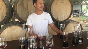 Wine tasting in the Moonsoon Valley vineyard, Thailand