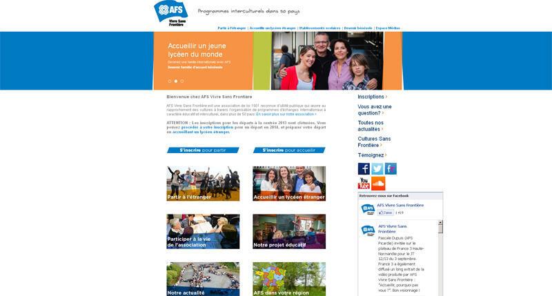 Site de l'association AFS Vivre Sans Frontière.
