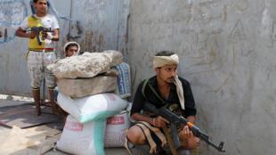 Wapiganaji wa kishia wa kundi la houthis mjini Aden, Jumamosi April 4.