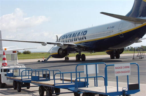 A Ryanair  plane at Limoges airport