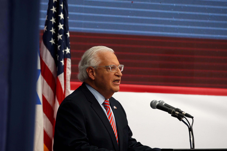 L'ambassadeur américain David friedman lors de son discours à la cérémonie d'inauguration de l'ambassade américaine à Jérusalem, le 14 mai 2018.
