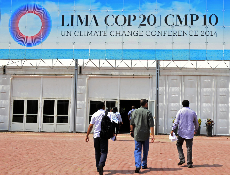 Entrada do COP20, em Lima, no Peru.