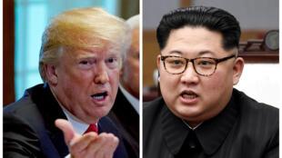 O presidente Donald Trump e o líder norte-coreano Kim Jong-Un (montagem)