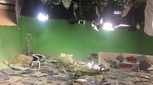 """استودیوی """"تلویزیون یک"""" بعد از انفجار روز چهارشنبه ٣١ مه ٢٠۱٧"""