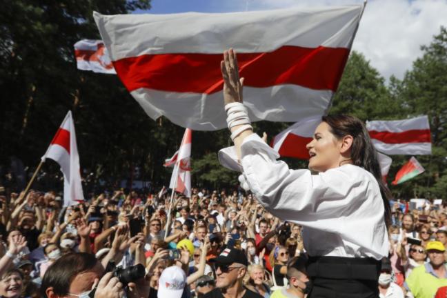 白俄羅斯反對派領袖季哈諾夫斯卡婭資料圖片