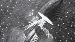 Illustration du livre «Autour de la lune» de Jules Verne.