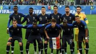Le onze de départ de l'équipe de France, lors de sa demi-finale victorieuse contre la Belgique, le 10 juillet 2018.