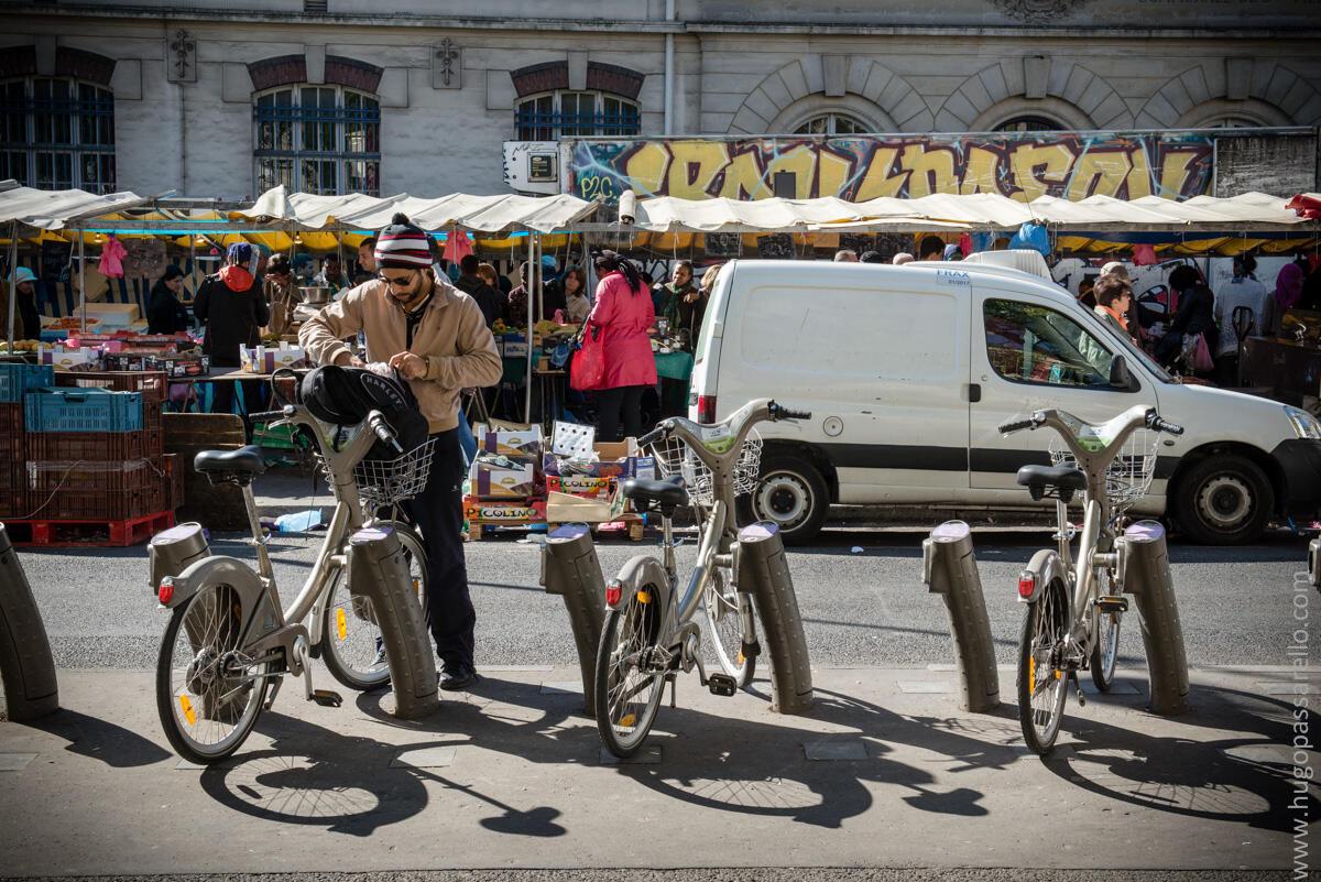 Sistema de bicicletas públicas parisinas Vélib'.
