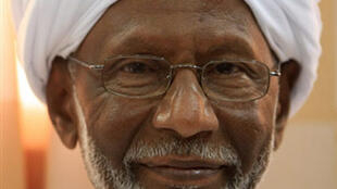 Sudan's Islamist opposition leader Hassan al-Turabi following his release from jail.