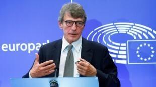 David Sassoli, lors d'une conférence de presse au Parlement européen à Bruxelles, le 12 septembre 2019.