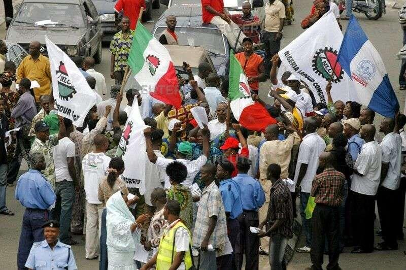 Members of the Nigeria Labour Congress protest in the commercial capital Lagos, June 20, 2007.