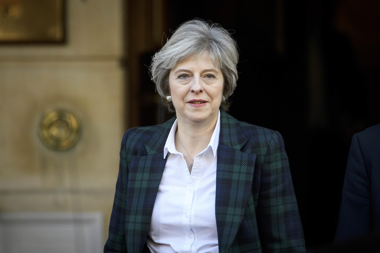 Theresa May, à sa sortie de Lancaster House, où elle a prononcé son discours sur le Brexit, le 17 janvier 2017.