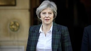 Theresa May akiondoka katika Lancaster House, ambapo alitoa hotuba kuhusu kujiondoa kwa Uingereza katika Umoja wa Ulaya , Januari 17, 2017.