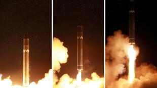 """朝鮮周三進行的""""火星-15""""洲際導彈資料圖片"""