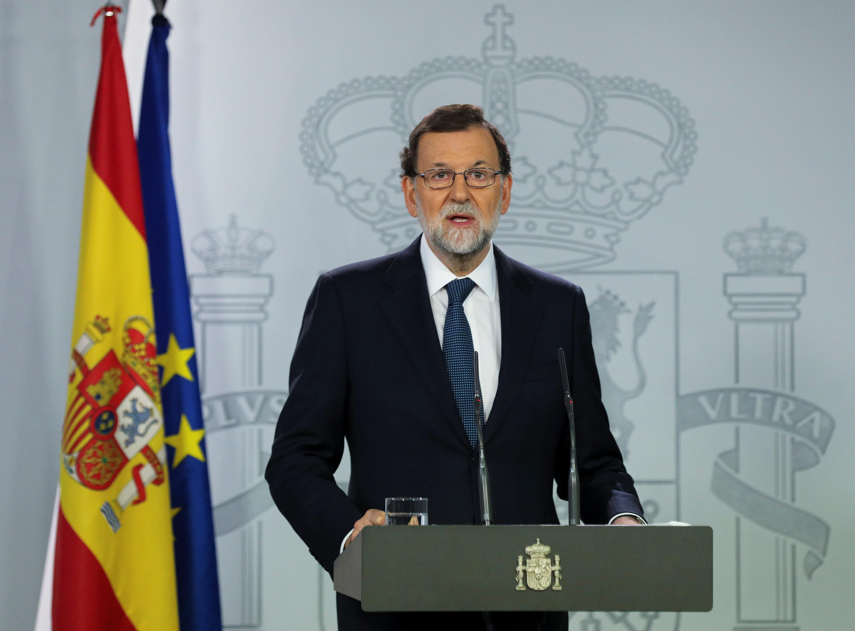 Thủ tướng Tây Ban Nha, Mariano Rajoy có bài phát biểu ngắn trên đài truyền hình ở Madrid ngày 11/10/2017.