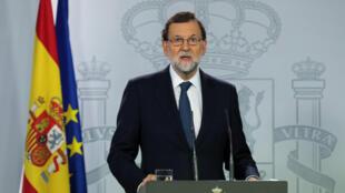 Le Premier ministre Mariano Rajoy lors d'une brève allocution télévisée à Madrid le 11 octobre 2017.