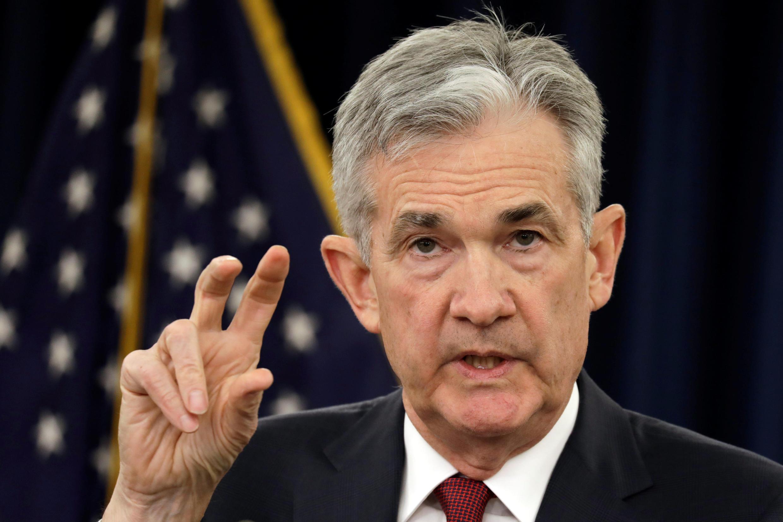 Le président de la Fed, Jerome Powell, lors d'une conférence de presse le 19 décembre 2018 à Washington.