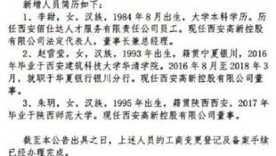 中国国企西安高新控股公司所发布的人员调动公告截图