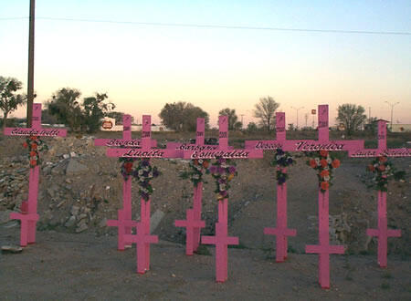 Символический мемориал в память об убитых женщинах-правозащитницах в г. Хуарес - Мексика