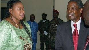 ICC assistant prosecutor Fatou Bensouda and Guinean Prime Minister Jean-Marie Doré in Conakry