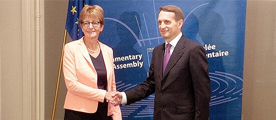 Спикер ГД РФ Сергей Нарышкин и председатель ПАСЕ Анн Брассер на встрече в Париже, 2 сентября 2014 года