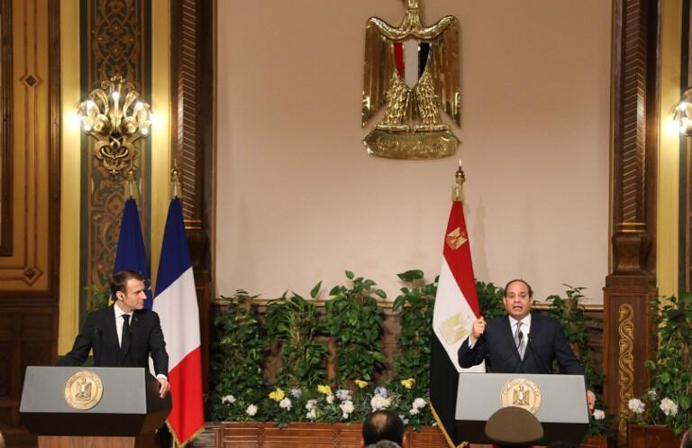 Tổng thống Abdel Fattah al-Sisi và tổng thống Emmanuel Macron họp báo chung tại Cairo ngày 28/01/2019.