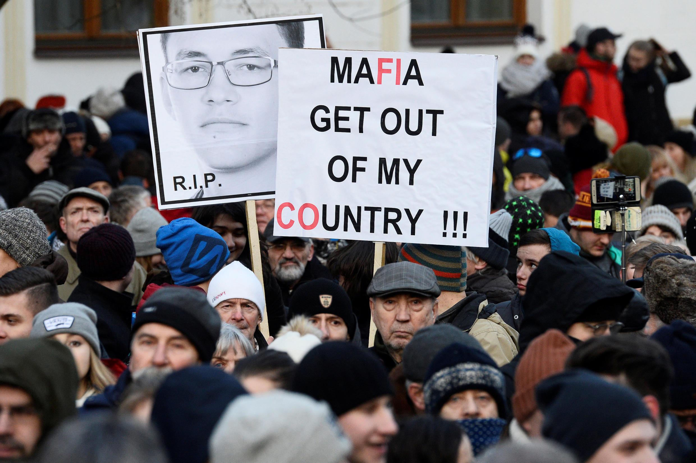 Participants march in honor of murdered Slovak investigative reporter Jan Kuciak and his girlfriend Martina Kusnirova in Bratislava, Slovakia, February 28, 2018.
