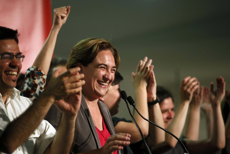 Ada Colau, probable future maire de Barcelone, le 24 mai 2015 après la victoire.