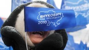 Manifestation des supporters du président élu Viktor Ianoukovitch, jeudi 11 février à Kiev.