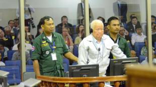 """Noun Chea, cựu lãnh đạo Khmer Đỏ bị kết tội """"diệt chủng"""" trong phiên tòa ngày 16/11/2018 tại Phnom Penh."""