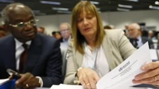 Trợ lý Tổng giám đốc Tổ chức Y tế Thế giới (WHO) bà Marie-Paule Kieny, trong cuộc họp về dịch Ebola  tại Genève, ngày 04/09/2014.